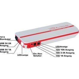 Starthilfegerät/Powerbank 5in1, 12V, 18Ah, 600A, 66,6Wh