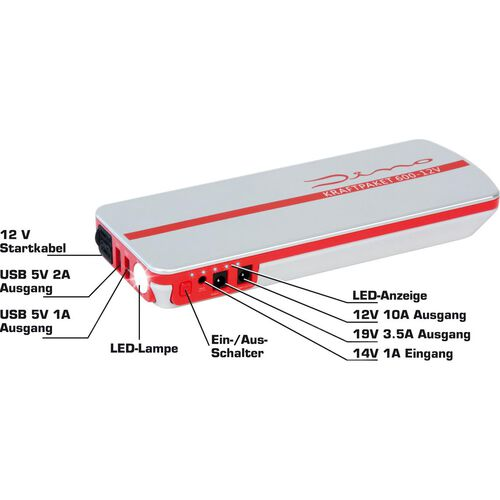 jump start device/powerbank 5in1, 12V, 18Ah, 600A, 66,6Wh