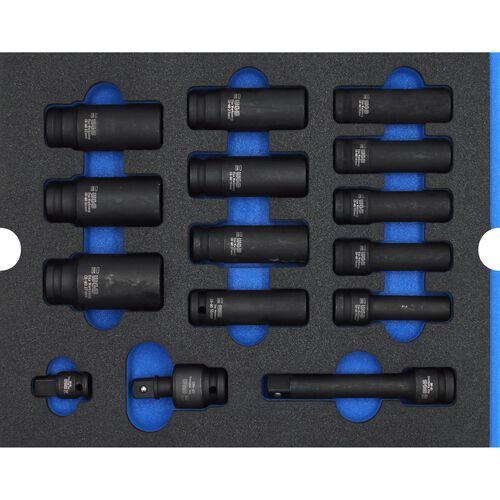 """Kraft-Steckschlüsseleinsätze blau lang 1/2"""" 15teilig"""