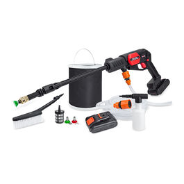 Mobile battery pressure washer with battery and accessories