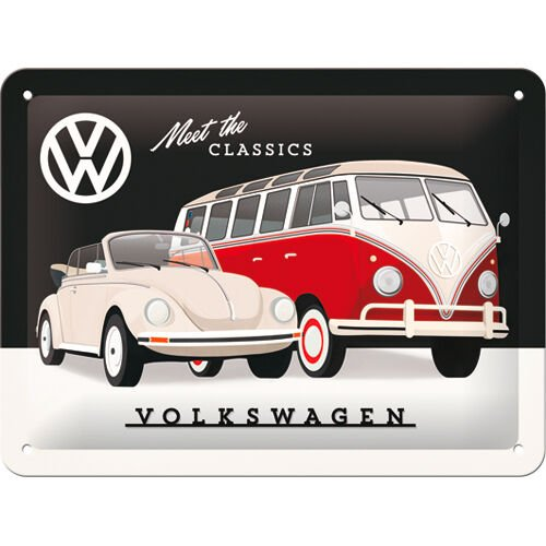 "Blechschild 15 x 20 ""VW - Meet the Classics"""