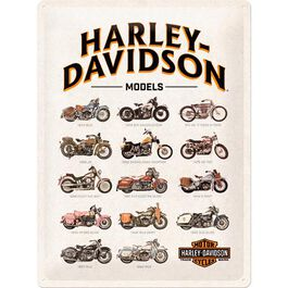 "Blechschild 30 x 40 ""Harley Davidson-Model Chart"""